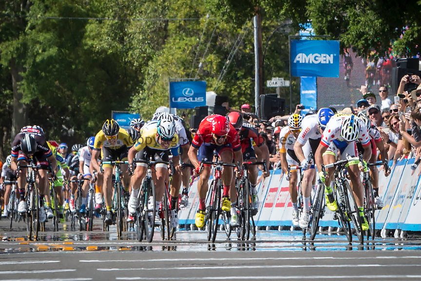 Monday, May 11, 2015<br /> MARK CAVENDISH, WOUTER WIPPERT AND PETER SAGAN sprint to the finish of the second stage of the Amgen Tour of California in Lodi. Cavendish won the stage, beating Sagan and Wippert at the line.