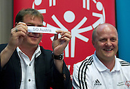 (L) Legia's trainer coach Jan Urban & (R) Boguslaw Galazka - Director of Special Olympics Poland while official draw before Special Olympics's Football Tournament at Legia Stadium in Warsaw on May 22, 2013..The mission of Special Olympics is to provide sports training and athletic competition for children and adults with intellectual disabilities...Poland, Warsaw, May 22, 2013...Picture also available in RAW (NEF) or TIFF format on special request...For editorial use only. Any commercial or promotional use requires permission...Photo by © Adam Nurkiewicz / Mediasport