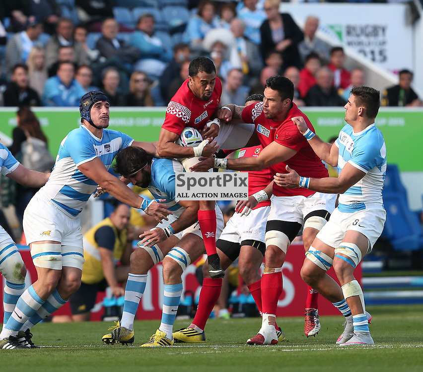 Tonga catch the ball during the Rugby World Cup Argentina v Tonga, Sunday 04 October 2015, Leicester City Stadium, Leicester, England Stadium (Photo by Mike Poole - SportPix)