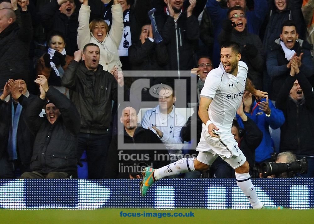 Picture by Matt Crossick/Focus Images Ltd +44 7711 374584.05/01/2013.Clint Dempsey of Tottenham Hotspur celebrates scoring against Coventry City during the The FA Cup match at White Hart Lane, London.