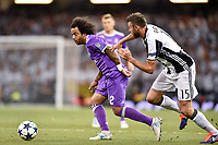 Marcelo of Real Madrid and Andrea Barzagli of Juventus during the UEFA Champions League Final match between Real Madrid and Juventus at the National Stadium of Wales, Cardiff, Wales on 3 June 2017. Photo by Giuseppe Maffia.<br /> <br /> Giuseppe Maffia/UK Sports Pics Ltd/Alterphotos