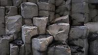 Columnar basalt detail at Reynisfjara beach, southcoast of Iceland.