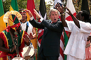 President George Bush dances with the Kankouran West African Dance Company following Bush delivering a speech on Malaria Awareness Day, Wednesday April 25, 2007 in Washington, DC. Photo Ken Cedeno