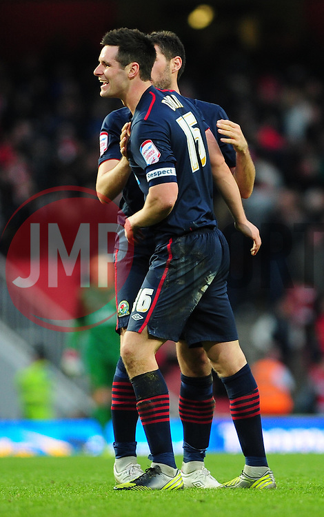 Blackburn Rovers' Scott Dann gets emotional after the game - Photo mandatory by-line: Dougie Allward/JMP - Tel: Mobile: 07966 386802 16/02/2013 - SPORT - FOOTBALL - Emirates Stadium - London -  Arsenal V Blackburn Rovers - FA Cup - Fifth Round