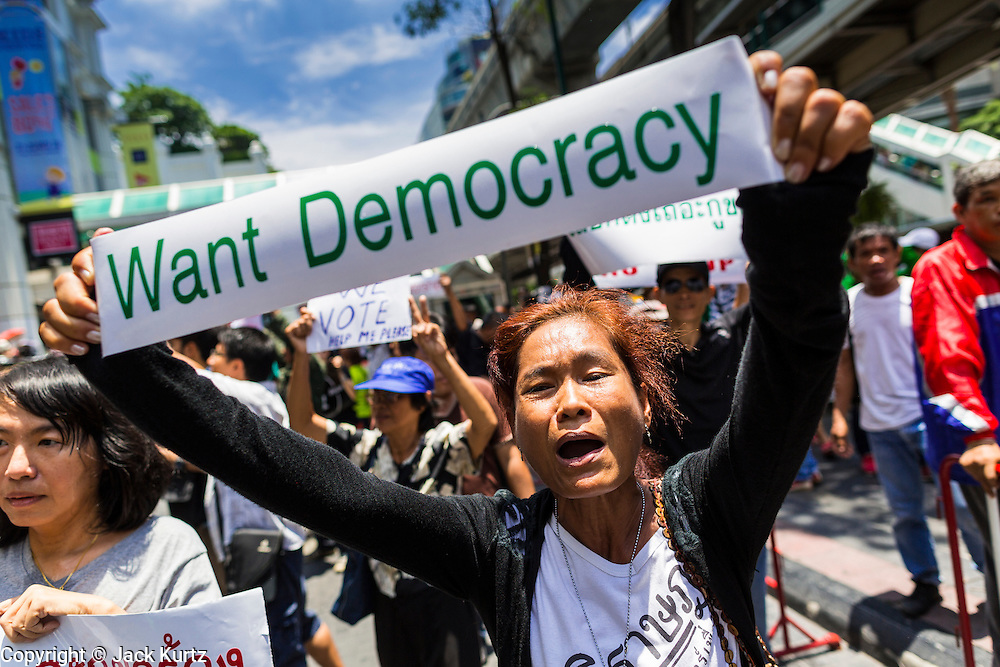 25 MAY 2014 - BANGKOK, THAILAND: A protestor opposed to the military junta at a demonstration in Bangkok. Public opposition to the military coup in Thailand grew Sunday with thousands of protestors gathering at locations throughout Bangkok to call for a return of civilian rule and end to the military junta.     PHOTO BY JACK KURTZ