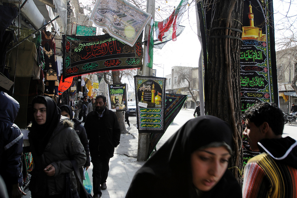 A street of Shiraz with the symbols of mourning for Moharram.
