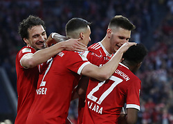 14.04.2018, Allianz Arena, Muenchen, GER, 1. FBL, FC Bayern Muenchen vs Borussia Moenchengladbach, 30. Runde, im Bild David Alaba hat soeben das 4:1 f&uuml;r den FC Bayern erzielt und jubelt- von links Mats Hummels, Sandro Wagner, Niklas S&uuml;lz und David Alaba // during the German Bundesliga 30th round match between FC Bayern Munich and Borussia Moenchengladbach at the Allianz Arena in Muenchen, Germany on 2018/04/14. EXPA Pictures &copy; 2018, PhotoCredit: EXPA/ Sammy Minkoff<br /> <br /> *****ATTENTION - OUT of GER*****