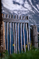 Mountain fence, Murren, Berner-Oberland, Switzerland.