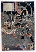Samurai warrior in battle against monkeys.Nineteenth century Japanes coloured woodblock print.