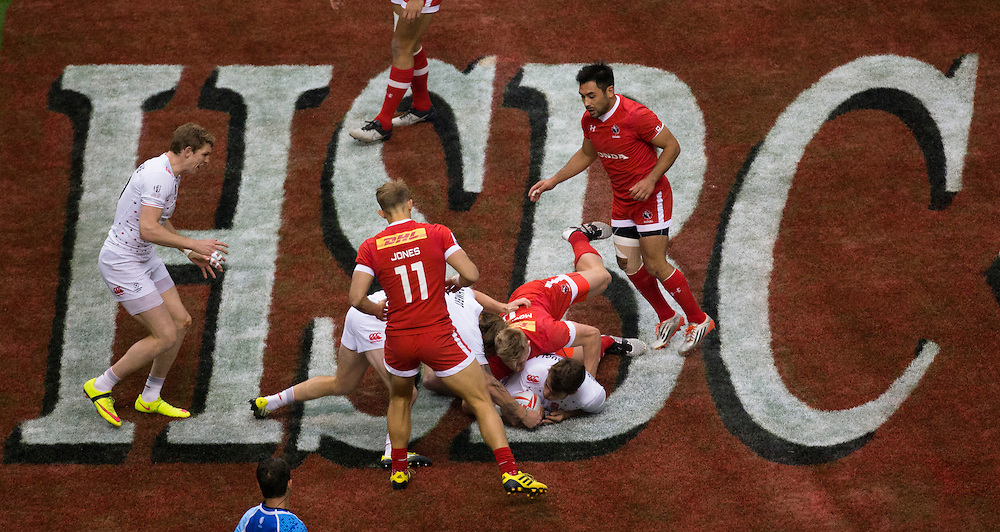 Canada plays England in the Bowl semi final at the HSBC Sevens World Series XVII Round 6 at B.C. Place Stadium in Vancouver British Columbia on March 13, 2016. Canada won the match 17-7.  (KevinLight/CBCSports)