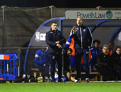 Steve Mildenhall of Bristol Rovers signals to the keeper as U23 manager Chris Hargreaves looks on - Mandatory by-line: Paul Knight/JMP - 16/11/2017 - FOOTBALL - Woodspring Stadium - Weston-super-Mare, England - Bristol City U23 v Bristol Rovers U23 - Central League Cup