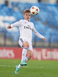 MADRID, SPAIN - Tuesday, November 4, 2014: Real Madrid CF's Jose Carlos Lazo in action against Liverpool during the UEFA Youth League Group B match at Ciudad Real Madrid. (Pic by David Rawcliffe/Propaganda)