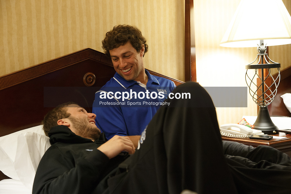 2013 May 24: Jordan Wolf #31 and David Lawson #2 of the Duke Blue Devils at the Sontesta Hotel in Philadelphia, PA.