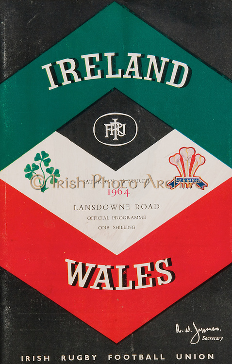 Irish Rugby Football Union, Ireland v Wales, Five Nations, Landsdowne Road, Dublin, Ireland, Saturday 7th March, 1964,.7.3.1964, 7.3.1964,..Referee- A C Luff, Rugby Football Union, ..Score- Ireland 6 - 15 Wales, ..Irish Team, ..F S Keogh, Wearing  Number 15 Irish jersey, Full Back, Bective Rangers Rugby Football Club, Dublin, Ireland,  ..P J Casey, Wearing number 14 Irish jersey, Right Wing, University College Dublin Rugby Football Club, Dublin, Ireland, .. M K Flynn, Wearing number 13 Irish jersey, Right Centre, Wanderers Rugby Football Club, Dublin, Ireland, ..J C Walsh,  Wearing number 12 Irish jersey, Left Centre, University college Cork Rugby Football Club, Cork, Ireland,..K J Houston, Wearing number 11 Irish jersey, Left Wing, Queens University Rugby Football Club, Belfast, Northern Ireland,..C M H Gibson, Wearing number 10 Irish jersey, Stand Off, Cambridge University Rugby Football Club, Cambridge, England, and, N.I.F.C, Rugby Football Club, Belfast, Northern Ireland, ..J C Kelly, Wearing number 9 Irish jersey, Scrum Half, University College Dublin Rugby Football Club, Dublin, Ireland,..P J Dwyer, Wearing number 1 Irish jersey, Forward, University College Dublin Rugby Football Club, Dublin, Ireland, ..P Lane, Wearing number 2 Irish jersey, Forward, Old Crescent Rugby Football Club, Limerick, Ireland, ..T A Moroney, Wearing number 3 Irish jersey, Forward, University College Dublin Rugby Football Club, Dublin, Ireland, ..W A Mulcahy, Wearing number 4 Irish jersey, Captain of the Irish team, Forward, Bective Rangers Rugby Football Club, Dublin, Ireland,  ..M W Leahy,  Wearing number 5 Irish jersey, Forward, University college Cork Rugby Football Club, Cork, Ireland,..E P McGuire,  Wearing number 6 Irish jersey, Forward, University college Galway Rugby Football Club, Galway, Ireland,..M G Culliton, Wearing number 8 Irish jersey, Forward, Wanderers Rugby Football Club, Dublin, Ireland, ..N A Murphy, Wearing number 7 Irish jersey, Forward, Cork Constitution Rugby