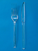 transparent plastic fork and knife