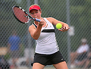 Iowa City High's Eve Small eyes a return during the Singles Draw finals match of the Class 2A state tennis tournament at Veterans Memorial Tennis Center in Cedar Rapids on Friday, May 31, 2013.