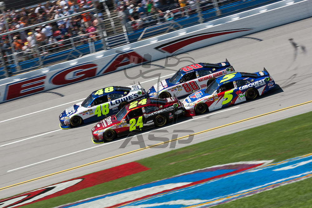 TALLADEGA, AL - APR 17, 2011: Team Hendrick draft during the  at the Talladega Superspeedway in Talladega, AL.