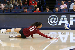 October 7, 2018 - Tucson, AZ, U.S. - TUCSON, AZ - OCTOBER 07: Washington State Cougars middle blocker Jocelyn Urias (6) dives to try to hit the ball during a college volleyball game between the Arizona Wildcats and the Washington State Cougars on October 07, 2018, at McKale Center in Tucson, AZ. Washington State defeated Arizona 3-2. (Photo by Jacob Snow/Icon Sportswire) (Credit Image: © Jacob Snow/Icon SMI via ZUMA Press)