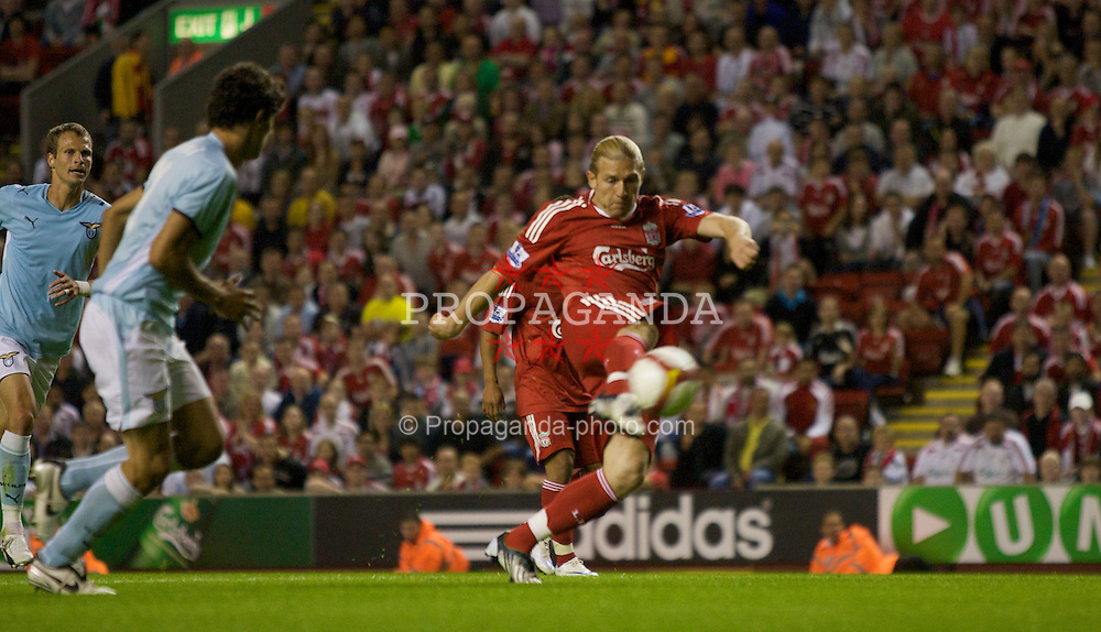 LIVERPOOL, ENGLAND - Friday, August 8, 2008: Liverpool's Andriy Voronin scores the only goal during a pre-season friendly match against SS Lazio at Anfield. (Photo by David Rawcliffe/Propaganda)
