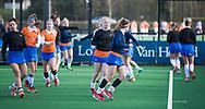 BLOEMENDAAL - Warming up Bloemendaal, . hockey hoofdklasse dames Bloemendaal-Den Bosch (0-6) . COPYRIGHT KOEN SUYK