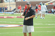 Ole Miss head coach Hugh Freeze watches football practice at Vaught-Hemingway Stadium in Oxford, Miss. on Saturday, August 9, 2014.