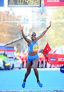 Joyciline Jepkosgei (KEN) celebrates after winning the women's race in the Prague Half Marathon in a world record 1:04:52 in the Prague, Czech Republic on Saturday, April 17, 2017. Jepkosgei set four world records along with the 10K (30:05), 15K (45:37) and 20K (1:01:25). (Jiro Mochizuki/IOS)
