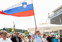 Borut Pahor, president of Slovenia celebrates during trophy ceremony after the 5th Time Trial Stage of 25th Tour de Slovenie 2018 cycling race between Trebnje and Novo mesto (25,5 km), on June 17, 2018 in  Slovenia. Photo by Vid Ponikvar / Sportida