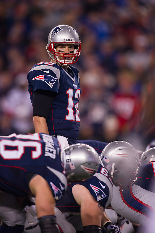 FOXBORO, MA - JANUARY 13:  Quarterback Tom Brady #12 of the New England Patriots calling signals during the AFC Divisional Playoff against the Houston Texans at Gillette Stadium on January 13, 2013 in Foxboro, Massachusetts.(Photo by Rob Tringali) *** Local Caption *** Tom Brady