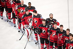 Players of Canada listening to the National Anthem during the 2017 IIHF Men's World Championship group B Ice hockey match between National Teams of Canada and Finland, on May 16, 2017 in AccorHotels Arena in Paris, France. Photo by Vid Ponikvar / Sportida