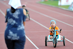 June 4, 2018 - Prague, Czech Republic - Vojta Mesk wins at the Young children race category during a paralympic race with wheelchairs at the Josef Odlozil Memorial Stadium in Prague in the Czech Republic..Vojta is very young. His start amazed the race at the Josef Odlozil Memorial Stadium in Prague..The Josef Odlozil Memorial is an annual track and field meeting which takes place in June at Stadion Juliska in Prague. (Credit Image: © Slavek Ruta via ZUMA Wire)