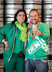 Friday, 15th March 2013: Christina Herrera and Jesus Santos from Spain pictured enjoying the St. Patrick's Festival at.the Guinness Storehouse which kicked off today with a host of entertainment on offer. For more.details and festival tickets, log on to www.guinness-storehouse.com or follow them on Twitter.@homeofguinness. Picture Andres Poveda