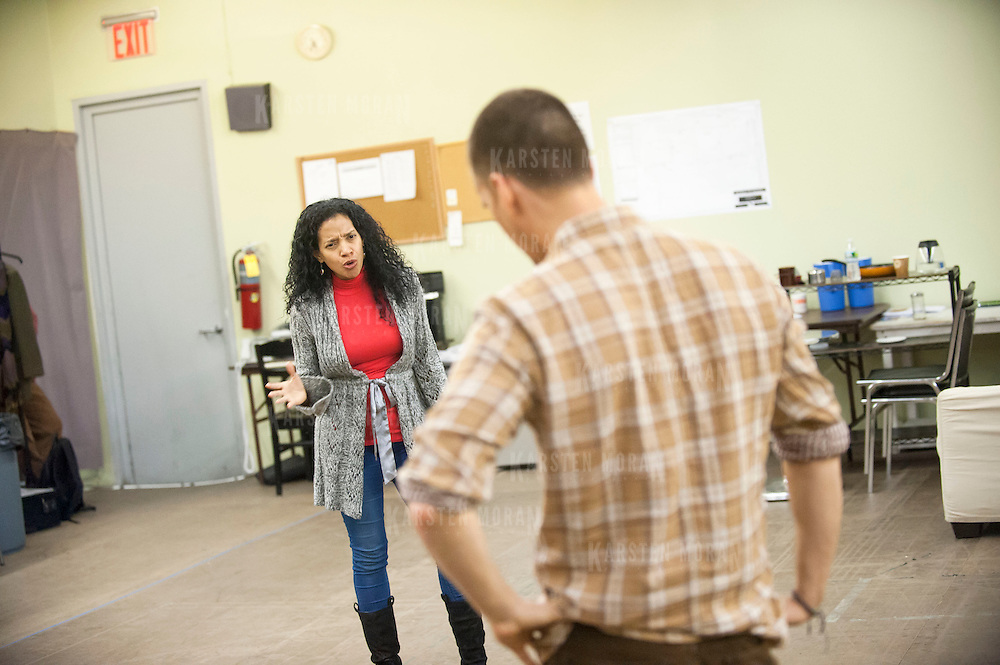 """November 20, 2012 - New York, NY : Actors Zabryna Guevara, left, and Armando Riesco perform a scene during an early rehearsal for """"Water by the Spoonful"""" at Second Stage Theatre on West 43rd Street in Manhattan on Tuesday night. The play, by Quiara Alegria Hudes, won the 2012 Pulitzer Prize for drama. CREDIT: Karsten Moran for The New York Times"""
