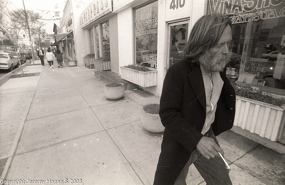 Skip Spence walks around looking for spare change and chain smoking in early March 1994 in Downtown San Jose, Calif. Skip Spencer was once the drummer from Jefferson Airplane and the leader of the influential band Moby Grape. At age 21 Spencer had a nervous breakdown and spent the next three decades in and out of mental institutions and half way houses. In the 1960s Spence, who was often called Spencer, was friends with many in the San Francisco rock scene including Janis Joplin.