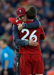 LIVERPOOL, ENGLAND - Sunday, October 7, 2018: Liverpool's manager Jürgen Klopp embraces Andy Robertson after the FA Premier League match between Liverpool FC and Manchester City FC at Anfield. The game ended goal-less. (Pic by David Rawcliffe/Propaganda)