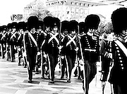Changing of the Guards Ceremony Outside Buckingham Palace, London UK in black and white