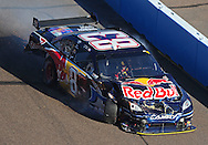 Nov. 15, 2009; Avondale, AZ, USA; NASCAR Sprint Cup Series driver Brian Vickers drives to the garage after crashing during the Checker O'Reilly Auto Parts 500 at Phoenix International Raceway. Mandatory Credit: Jennifer Stewart-US PRESSWIRE