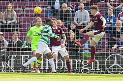 Hearts Euan Henderson misses a chance to score during the Ladbrokes Scottish Premiership match at Tynecastle Stadium, Edinburgh.
