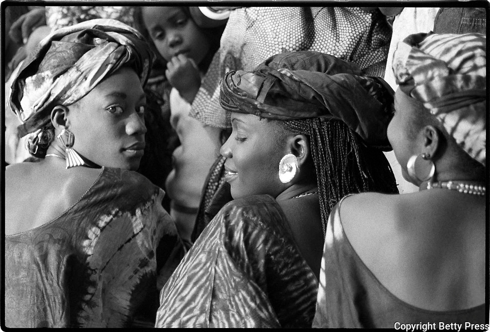 Young women at a high school assembly program.  Dakar, Senegal  1988<br />