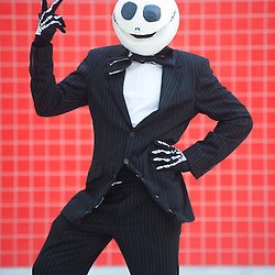 London, UK - 26 May 2013: Frazer Heritage dressed as Jack Skellington of The Nightmare Before Christmas poses for a picture during the London Comic Con 2013 at Excel London. London Comic Con is the UK's largest event dedicated to pop culture attracting thousands of artists, celebrities and fans of comic books, animes and movie memorabilia.