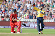 James Faulkner and Adam Wheater during the NatWest T20 Blast Semi Final match between Hampshire County Cricket Club and Lancashire County Cricket Club at Edgbaston, Birmingham, United Kingdom on 29 August 2015. Photo by David Vokes.