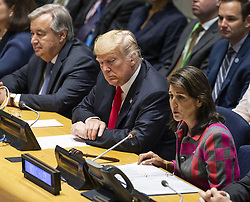 October 9, 2018 -  United Nations Ambassador Nikki Haley will resign from her role in the Trump administration, White House officials announced. PICTURED: New York, New York, U.S. - September 24, 2018 - United States - Secretary-General Antonio Guterres, US President Donald Trump, Ambassador NIKKI HALEY attend UN General Assembly high level event on Counter Narcotics during 73rd session at United Nations Headquarters.  (Credit Image: © Lev Radin/Pacific Press via ZUMA Wire)