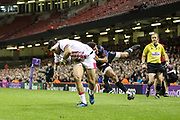 Raphael Lakafia of Stade Francais scores his teams second try during the European Challenge Cup match between Ospreys and Stade Francais at Principality Stadium, Cardiff, Wales on 2 April 2017. Photo by Andrew Lewis.