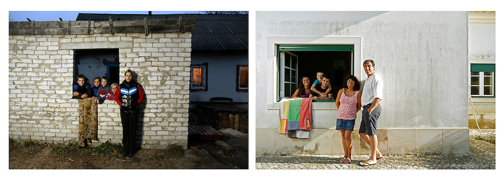 On the left: Zoryn, Ukraine. Bogdan Nesterenko 13, a family friend, Mark Kosenchuk 9, Sofia Kosenchuk 7 and Olena.<br /> <br /> On the right: Peniche, Portugal. Joana Vitorino, Mark Kosenchuk, Paulo Vitorino, Susana Roquete and Alfredo Vitorino<br /> <br /> Mark lives with his brothers and mother. This year he went to Portugal for the 2nd time and he stayed at Peniche, a Portuguese costal city Vitorino's family. Bogdan, his older brother went for the first time to Portugal despite being older. Since he has a slight difference in the size of his two legs his mother never suggested his name to the Blue Summer program.