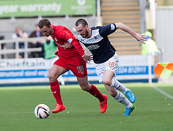 Raith Rovers Gordon Smith and Falkirk's Joe Chalmers.<br /> Falkirk 2 v 1 Raith Rovers, Scottish Championship game played today at The Falkirk Stadium.<br /> &copy; Michael Schofield.
