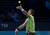 Tennis - 2017 Nitto ATP Finals at The O2 - Day One<br /> <br /> Mens Doubles: Group Eltingh/Haarhus: Jean Julien Rojer (Netherlands) & Horia Teacu (Romania) Vs Pierre-Hugues Herbert (France) & Nicolas Mahut (France)<br /> <br /> Jean-Julian Rojer (Netherlands) serving at the O2 arena <br /> <br /> COLORSPORT/DANIEL BEARHAM