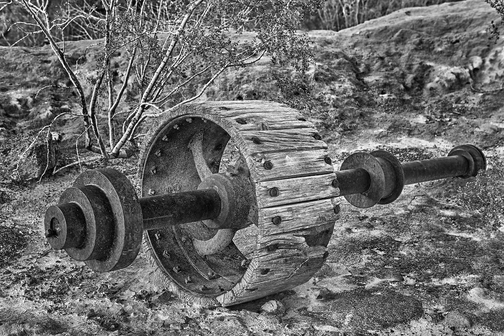 Rusting Pulley Drive Shaft - Eldorado Canyon - Nelson NV - HDR -  Black & White