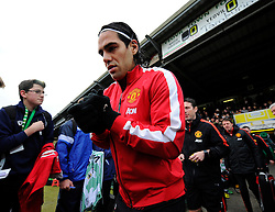 Manchester United's Radamel Falcao Garcia walks out at Huish Park to warm up  - Photo mandatory by-line: Joe meredith/JMP - Mobile: 07966 386802 - 04/01/2015 - SPORT - football - Yeovil - Huish Park - Yeovil Town v Manchester United - FA Cup - Third Round