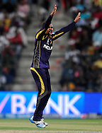 Sunil Narine of the Kolkata Knight Riders appeals successfully for the wicket of Lakshmipathy Balaji of the Kings X1 Punjab during match 15 of the Pepsi Indian Premier League 2014 Season between The Kings XI Punjab and the Kolkata Knight Riders held at the Sheikh Zayed Stadium, Abu Dhabi, United Arab Emirates on the 26th April 2014<br /> <br /> Photo by Pal Pillai / IPL / SPORTZPICS