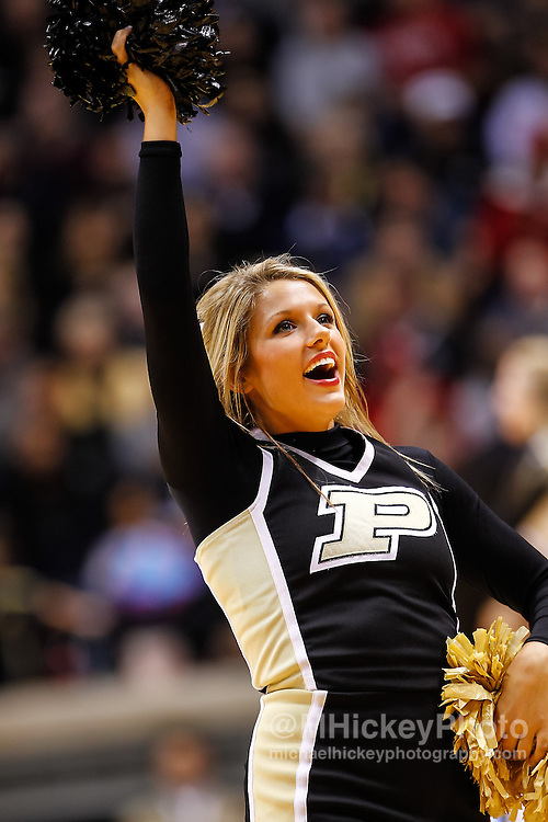 WEST LAFAYETTE, IN - JANUARY 30: A Purdue Boilermakers cheerleader seen during the game seen during the game against the Indiana Hoosiers at Mackey Arena on January 30, 2013 in West Lafayette, Indiana. Indiana defeated Purdue 97-60. (Photo by Michael Hickey/Getty Images)