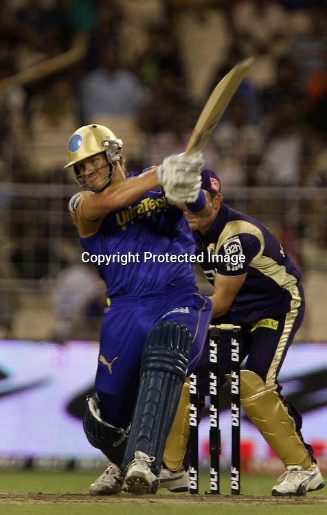 Rajasthan Royals Batsman Shane Watson Hit The Shot Against  Kolkata Knight Riders During The Kolkata Knight Riders vs Rajasthan Royals  Indian Premier League - 53rd match Twenty20 match | 2009/10 season Played at Eden Gardens, Kolkata 17 April 2010 - day/night (20-over match)